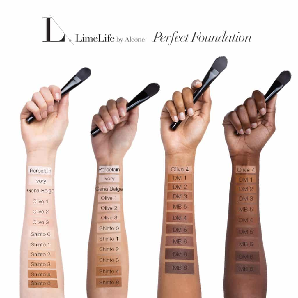LimeLife by Alcone Perfect Foundation Arm Swatches All Shades 2018, Brazen Faith LLC, Jean Lucas, Independent Beauty Guide