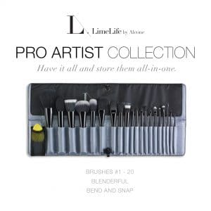 LimeLife by Alcone Complete 20 Pro Artist Makeup Brush Collection with Bend and Snap Brush Roll and a Blenderful makeup sponge, Have it all and store them all in one, Order from Founding Global Beauty Guide Jean Lucas of Brazen Faith LLC, #brazenfaithllc, #limelifebrushes, #promakeup, #protools, #investment, #usewhattheprosuse