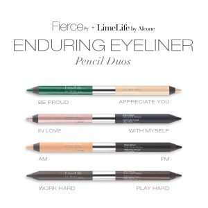 Enduring Eyeliner Pencil Duos, four pencils, 8 colors, Aly Raisman, Fierce Collection, LimeLife by Alcone, #livebrazenlybeautiful, Jean Lucas, Founding International Beauty Guide, brazenfaithllc.com, #brazenfaithllc