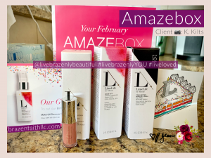 LimeLife by Alcone Subscription February Amazebox, Jean Lucas Independent Beauty Guide, photo credit client K Kilts, Limelife referral, Limelife affiliate, Limelife discount, #livebrazenlybeautiful #livebrazenlyYOU #liveloved