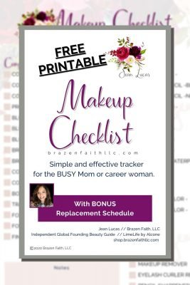 Free printable, Makeup Checklist, Tracker, Brazen Faith LLC dot com, Simple and effective tracker for the busy mom or career woman with bonus replacement schedule, Jean Lucas, Independent Global Founding Beauty Guide, LimeLife by Alcone, shop dot Brazen Faith LLC dot com, when does makeup expire, does makeup expire when unopened